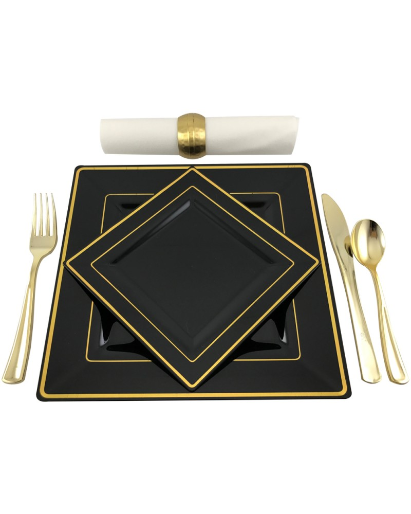 Square Black and Gold Rim Disposable Plastic Plates Pack of 30 (15-9.5 Dinner  sc 1 st  myChigo : disposable square plastic plates - pezcame.com