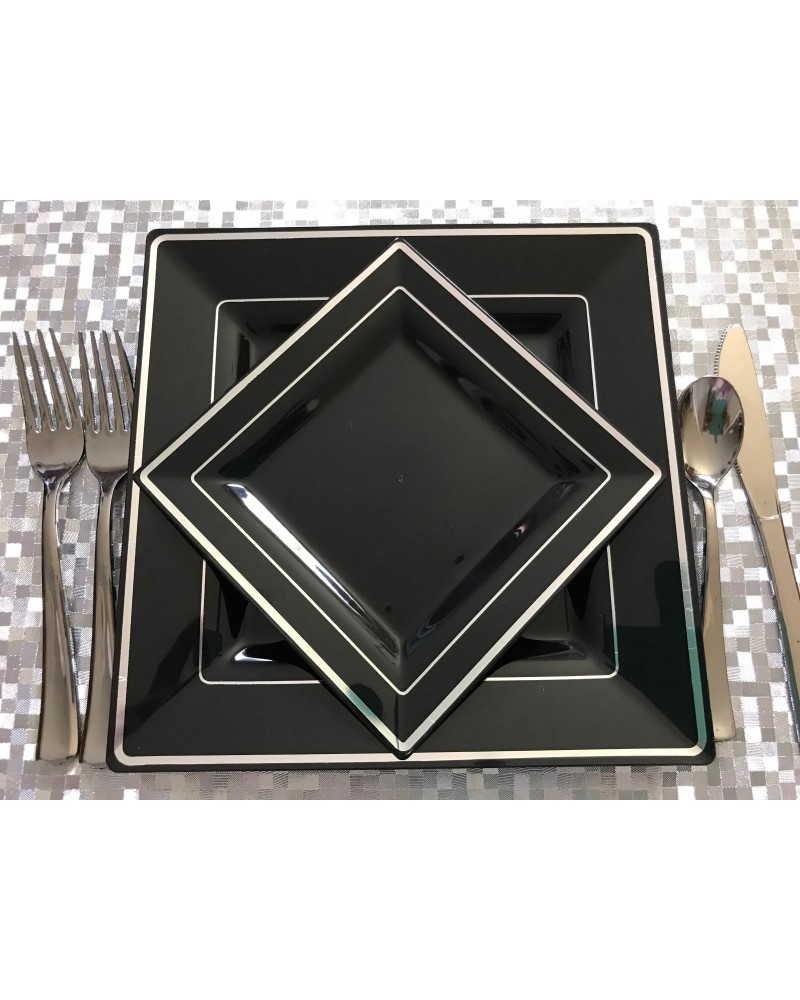 Square Black and Silver Rim Disposable Plastic Plates Pack of 20-10-9.5 Dinner plates u0026 10-6.5 Salad/Dessert plates  sc 1 st  myChigo & Square Black and Silver Rim Disposable Plastic Plates Pack of 20-10 ...