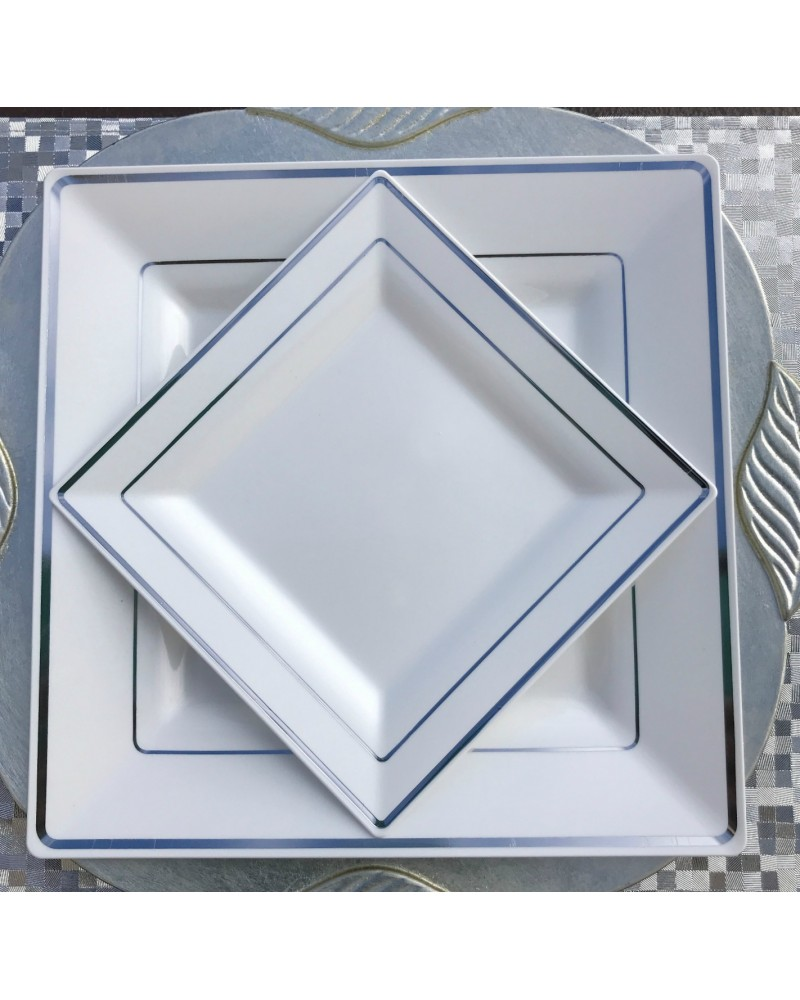 Square White and Silver Rim Disposable Plastic Plates Pack of 30-15 ...