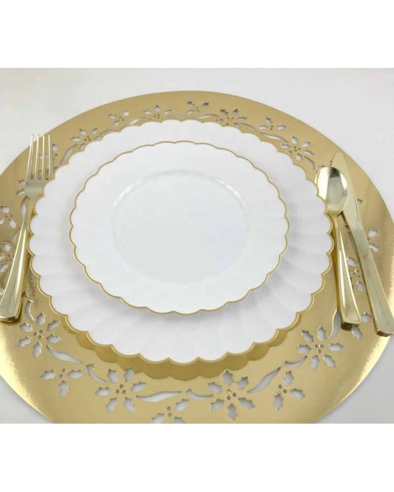 Round White and Gold Rim Disposable Plastic Plates Pack of 40- (20-10.25 Dinner plates ...  sc 1 st  myChigo & Round White and Gold Rim Disposable Plastic Plates Pack of 40- (20 ...