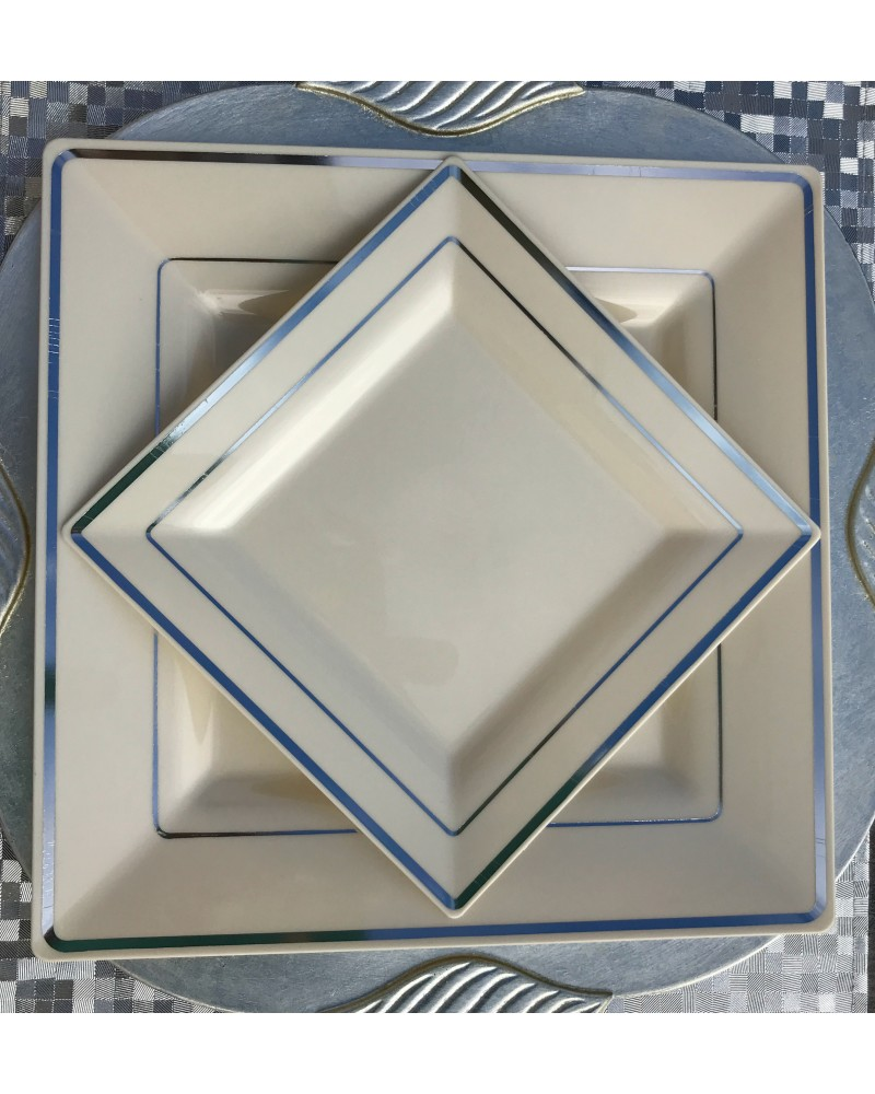 Square Off-white/Ivory and Silver Rim Disposable Plastic Plates Pack ...